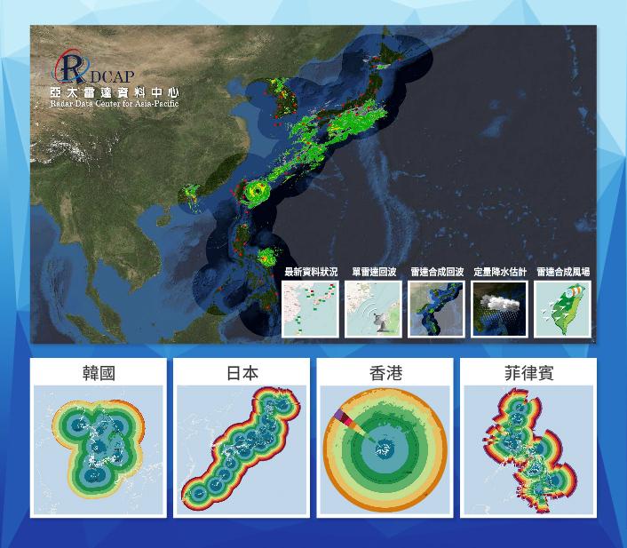 臺灣結合日本、菲律賓、韓國、香港的氣象雷達網,可提供更完整的劇烈天氣資訊。