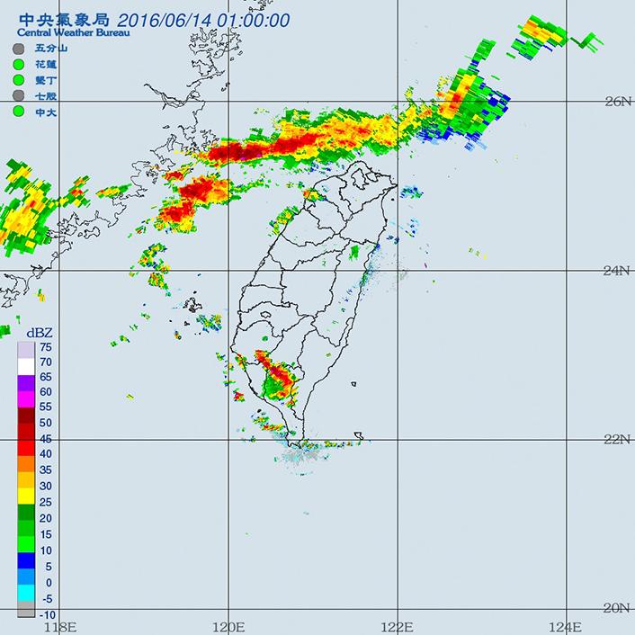 梅雨鋒面的雷達回波圖會呈現線狀的回波,為臺灣帶來豐沛的雨量,對臺灣的水資源利用上,有著非常重要的影響。