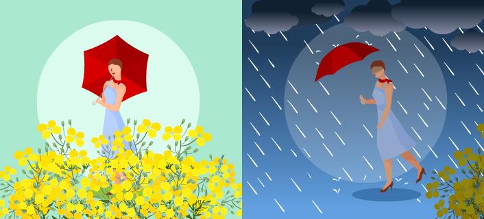 這2個月怎麼了?同一天裡,一下子放晴,一下子豪雨,真是讓人憂鬱的季節。