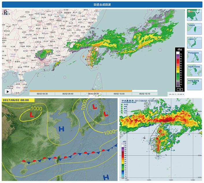 梅雨季節在臺灣上空徘徊的滯留鋒面,視雲層的分布狀況決定當地天氣是晴是雨。